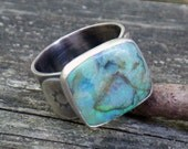 Green and blue opal sterling silver ring size 8.25