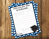 Printable Royal Blue Graduate Advice Cards - Instant Download