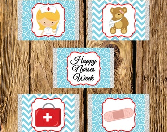 Nurses Week Blonde Mini Candy Bar Wrappers - Instant Download