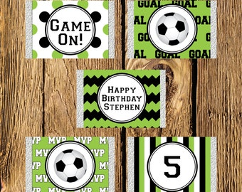Printable Soccer Personalized Birthday Mini Candy Bar Wrappers