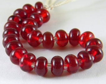 GMD lampwork glass beads transparent red spacers set of 25