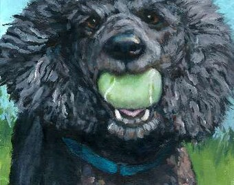 Poodle, Dog Art Print by Dottie Dracos, black poodle, poodle painting, tennis ball, dog and ball, dog art, poodle art, poodle with ball