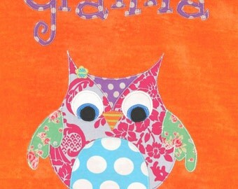 Personalized Large Orange Velour Beach Towel with Cute Owl, Pool Towel, Kids Bath Towel, Camp Towel, College Towel, Baby Towel, Swim