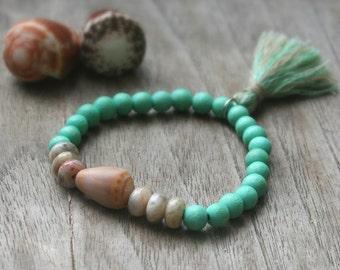 Stretch Bracelet, Stackable Bracelet, Stacking Bracelet, Bohemian Bracelet, Shell Bracelet, Hawaii Cone Shell, Tassle Bracelet, Hippie Style