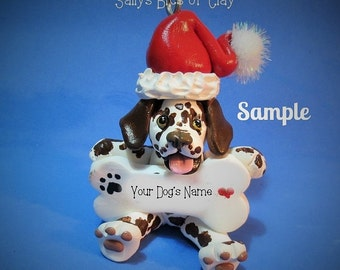 Liver Dalmatian Santa Dog Christmas Bone Ornament Sally's Bits of Clay PERSONALIZED FREE with dog's name