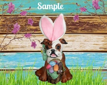 Bulldog statue etsy nz brindle and white english bulldog easter bunny dog with basket of eggs chocolate bunny ooak negle Gallery