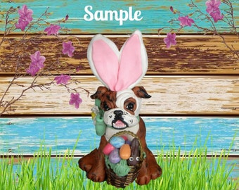 Brindle and white English Bulldog Easter Bunny dog with basket of Eggs / Chocolate Bunny OOAK Polymer Clay art by Sallys Bits of Clay