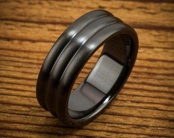 Classic 3 Dome Black Zirconium Men's Comfort Fit Wedding Ring Quick Ship QZ0022