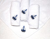 Embroidered 4 Baby Washcloths Set of 4 White Cloths with Royal Blue Sailboat - Ready to Ship