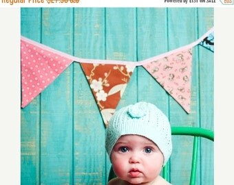 STOREWIDE 15% OFF Bunting Flags, Pink and Brown Photography Prop,  Designer's Choice Fabric Fabric Banner.  Also For Weddings and Parties.