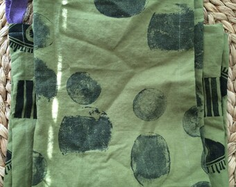 Hand printed tea towels set of two