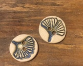 FREE SHIPPING Set of 2 Handmade Ceramic Buttons - Gingko