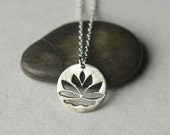 Silver Lotus Necklace, Lotus Charm, Minimal Jewelry, Layering Necklace, Silver Circle Pendant, Flower Pendant, Floral Jewelry, Jewelry Gift