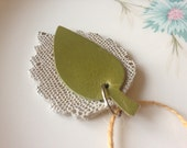 Leather Leaf Charm FREE SHIPPING