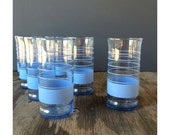 Blue Striped Drinking Glasses by Libbey - Set of 8