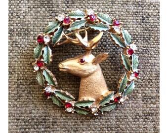 1950s Christmas Pin - Woodland Stag Christmas Brooch