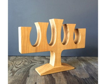 Holiday Candelabra - 5 Candle Holder - Carved Wood - Made in Poland