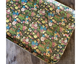 Large Paper Mache Tray - Made in Japan Black and Gold Trays with Flowers