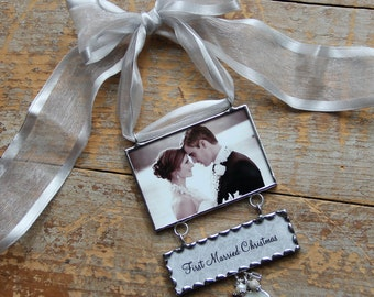 Custom Christmas Ornament- Newly Engaged -First Married Christmas Ornament as Mr. & Mrs.-Custom Photo Gift-Christmas Ornament-New Engaged