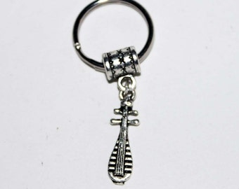 Silver Lute Musical Instrument Key Chain Key Ring Key Holder Key Fob KC-Gen127