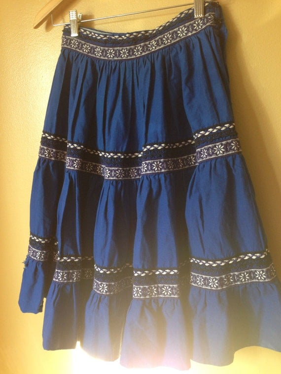 Vtg s mexican embroidered tiered skirt reserved for