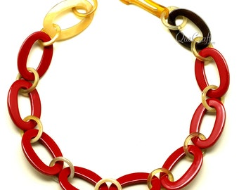 Horn & Lacquer Chain Necklace - Q12610-R