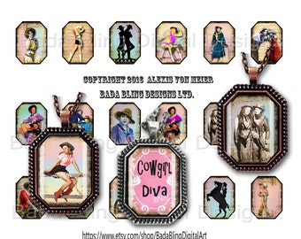 22 x 30 , Buckaroo Babes and Cowgirl Divas,  collage sheets for octagonal pendants INSTANT  Digital Download at Checkout, cowgirls, rodeo