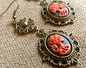 VICTORIAN SKELETON LADY Gothic Lolita Cameo Earrings Red and Black Long Dangle Earrings Jewelry Marie Antoinette