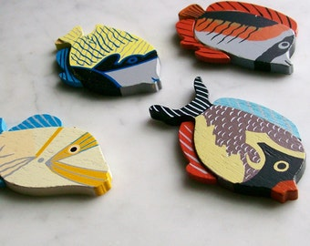 Vintage Painted Fish Ornaments Wood Hanging Mobile Colorful Beach Decor 4 Pcs.
