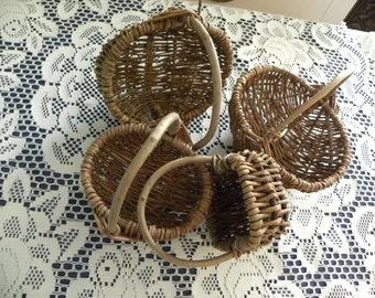Wicker Twig Baskets 4 small Woven Wood Stick Baskets
