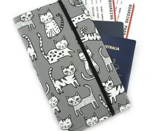 Travel Wallet - Passport Holder - Family Travel Wallet - Travel Organizer - Passport wallet - Travel Document Holder - Cats on Grey