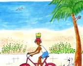 Biking By The Beach - Beach Cottage Art - Boys Room Art