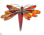 Wings of Fire - Stained Glass Dragonfly Twirl - Small Red Home Garden Decor Suncatcher Yard Art Hanging Decoration Insect (READY TO SHIP)