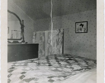 vintage photo 1959 Snapshot Bedroom Interior Quilt on Bed Mirror