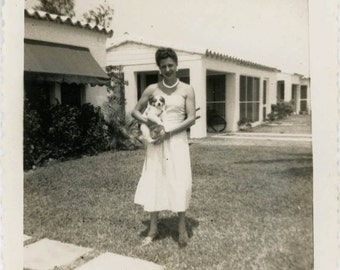 Vintage Snapshot 1950s Woman Suburban California Home Holds Buttons the Dog
