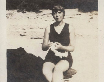Vintage photo Flapper Era Bathing Suit Lady on Beach