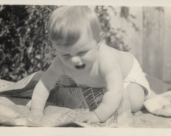 vintage photo 1930 Baby Margaret in Diaper Reading Tearing up The Examiner Newspaper