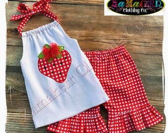 GIRL Halter Red Strawberry Shorts Capri Pant Outfit Set Summer Sweet Top Pink Baby Size 3m 6m 9m 9 12 18 24 month 2 2T 3 3T 4T 4 5T 5 6 7 8
