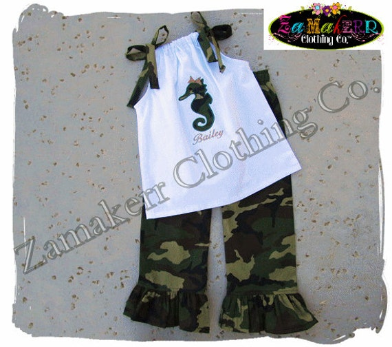 Custom Boutique Clothing White Pillowcase Top Camouflauge Ruffled Pant Outfit Set 3 6 9 12 18 24 month size 2T 2 3T 3 4T 4 5T 5 6 7 8
