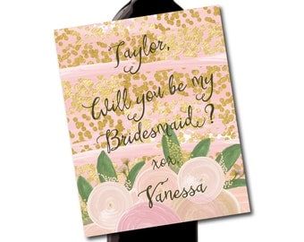 Pink and Gold Watercolor Floral Wine Label // Will you be my bridesmaid tags or labels