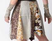 Brown patchwork skirt, Brown and yellow short skirt, Floral cotton skirt, Womens clothing, Womens skirts, size UK 16