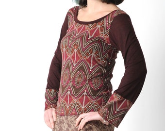 Dark red womens top, Wine red patterned jersey top, Burgundy jersey top with long wide sleeves, sz M
