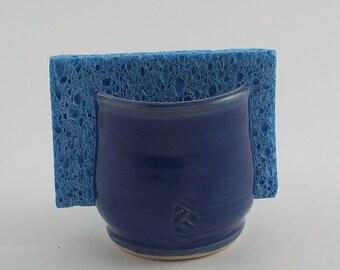 Sponge Holder - Handmade Ceramic Sponge Drying Bowl - Stoneware Paper Napkin Caddy - Cup Holder - Ready to Ship - Royal Cobalt Blue h402
