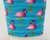 Coffee Cozy, Cup Sleeve, Eco Friendly, Slip-on: Pink Flamingos on Aqua