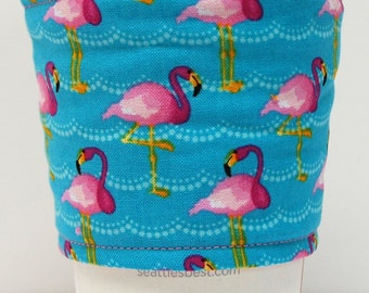 Coffee Cozy, Cup Sleeve, Eco Friendly, Slip-on, Teacher Appreciation, Co-Worker Gift, Bulk Discount: Pink Flamingos on Aqua