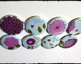 Set of eight, Pink and purple floral magnets!