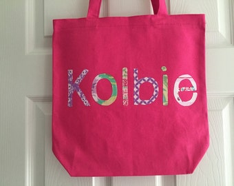 Girls Large Personalized Tote Bag - Great as a Library Book Bag, Sleepover Tote, Birthday Present, Party Favors
