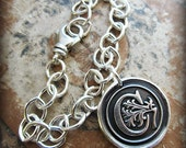 Mother's Day Gift - Wax Seal Monogram Bracelet - Personalized Initial Bracelet - Wax Seal Medallion Bracelet - B810
