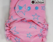 AI2 Cloth Diaper Made to Order - Light Blue Stars on Pink - You Pick Size Style - AI2 Nappy - Waterproof Reusable Diaper