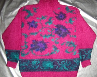 Mohair Sweater Vintage 80's - Pink, Purple and Teal Green Floral Knit Designs - Michelle Stuart - Small S